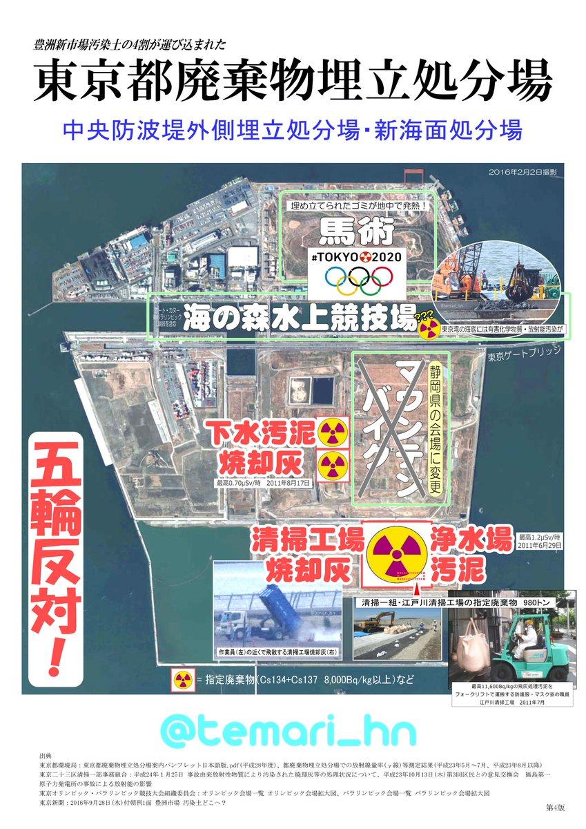 test ツイッターメディア - ★#東京五輪 会場★福島第一原発事故由来の汚染物が埋め立てられた東京都中央防波堤廃棄物処分場内の放射線量は、東京23区よりやや低めの0.05μSv/時程度です。皆さんの生活空間の方が線量が高いということをお忘れなく(/_;)https://t.co/rcsnpdrdXP