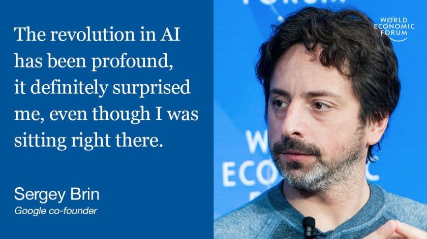 @Google co-founder Sergey Brin: I didn't see #AI coming  #wef17