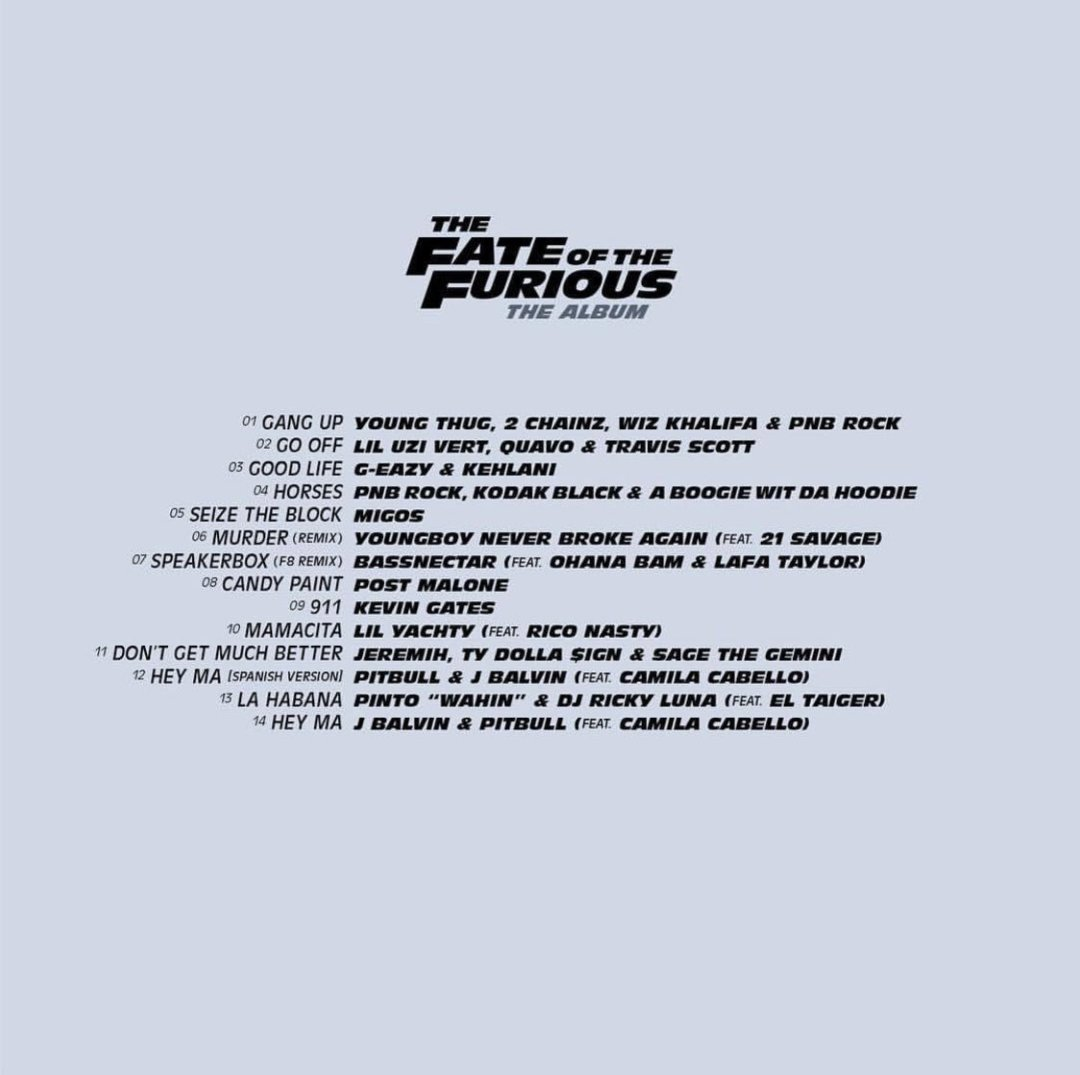 The Fate of the Furious: The Album Tracklist