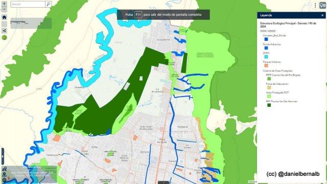 Mapa de hace un mes con la Reserva van der Hammen