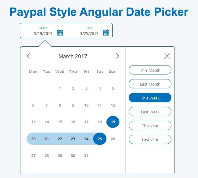 #AngularJS DateRange Picker in Paypal DatePicker Style   #javascript