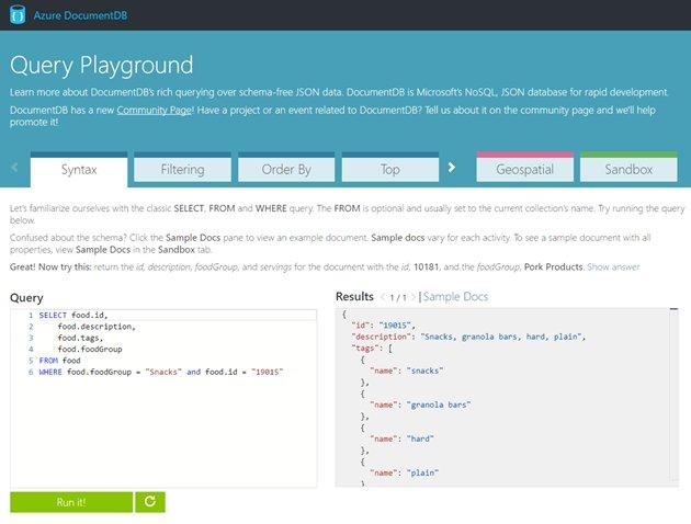 [Blogged] Azure DocumentDB Query Playground  #Azure #DocumentDB #NoSQL #Cloud /cc @DocumentDB