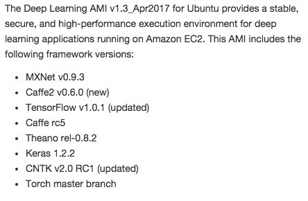Deep Learning AMI on Amazon Web Services quickly added Caffe2 along with TensorFlow & others