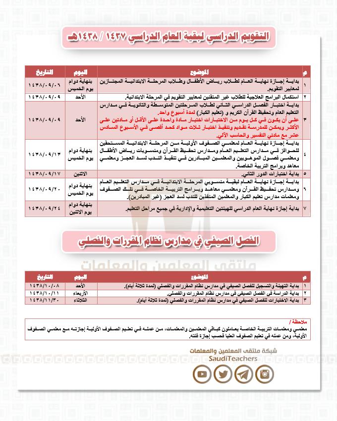 التقويم الدراسي لعام 1437 و 1438 هجري والاجازات الرسمية