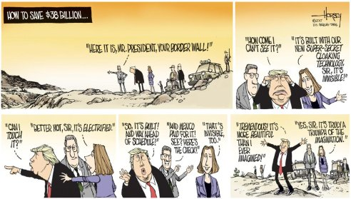 Image result for trump invisible wall cartoon