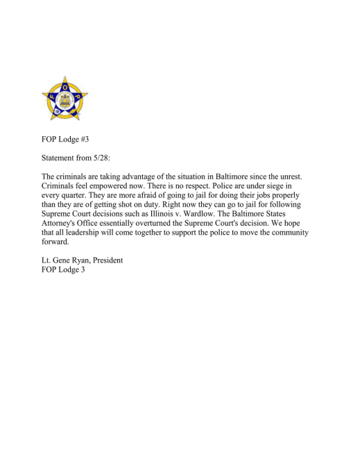 Statement From Baltimore City Police Union