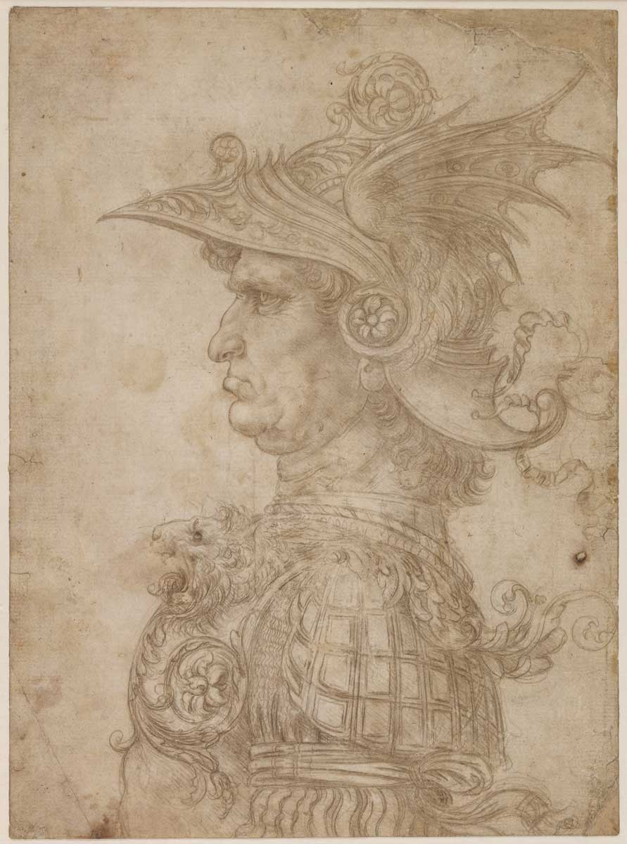 Leonardo da Vinci, 'A Bust of a Warrior,' c. 1475/1480. One of the most famous silverpoint drawings of all time.