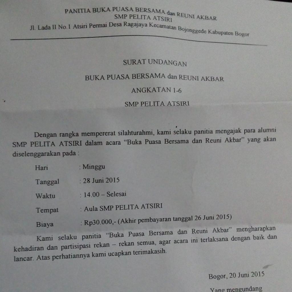 Smp Pelita Atsiri On Twitter Ini Undangan Buat Bukber Dan Reuni