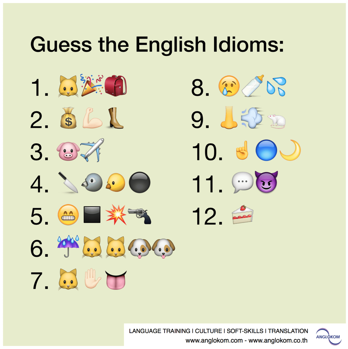 Anglokom On Twitter Guess The English Idioms Shown With