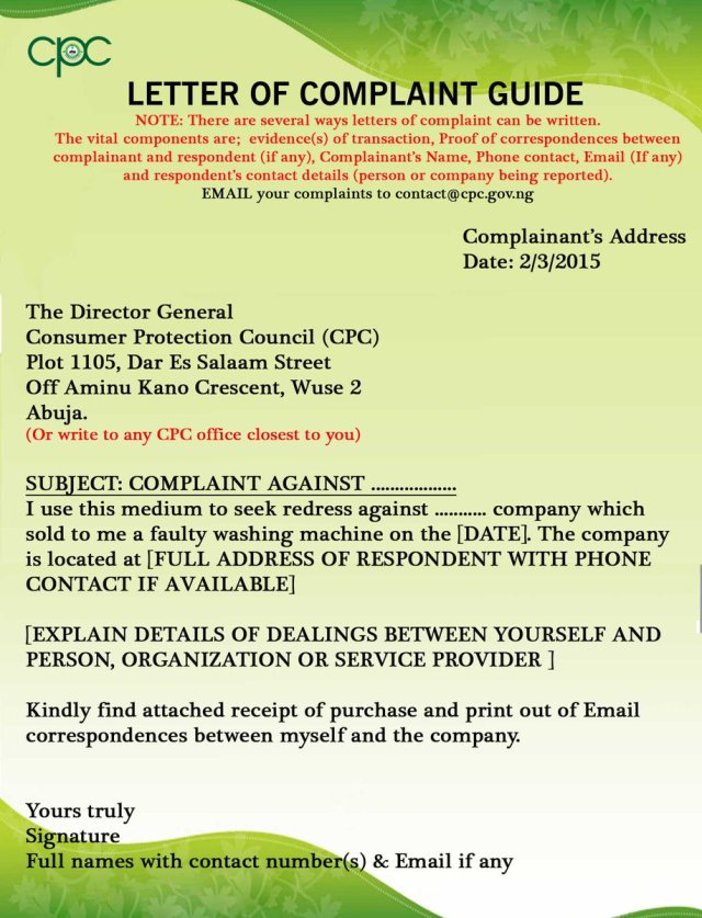 """FCCPC Nigeria on Twitter: """"Writing a letter of complaint to the"""