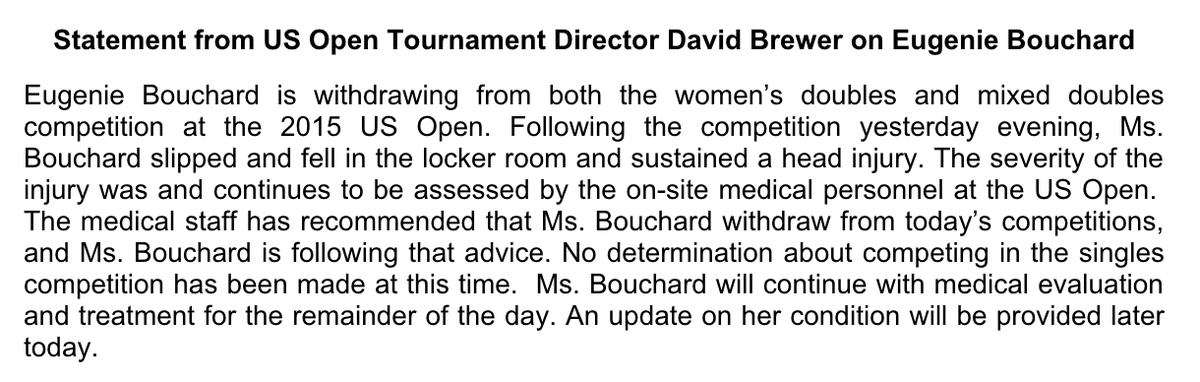 US Open Statement - Bouchard withdrawal 2015