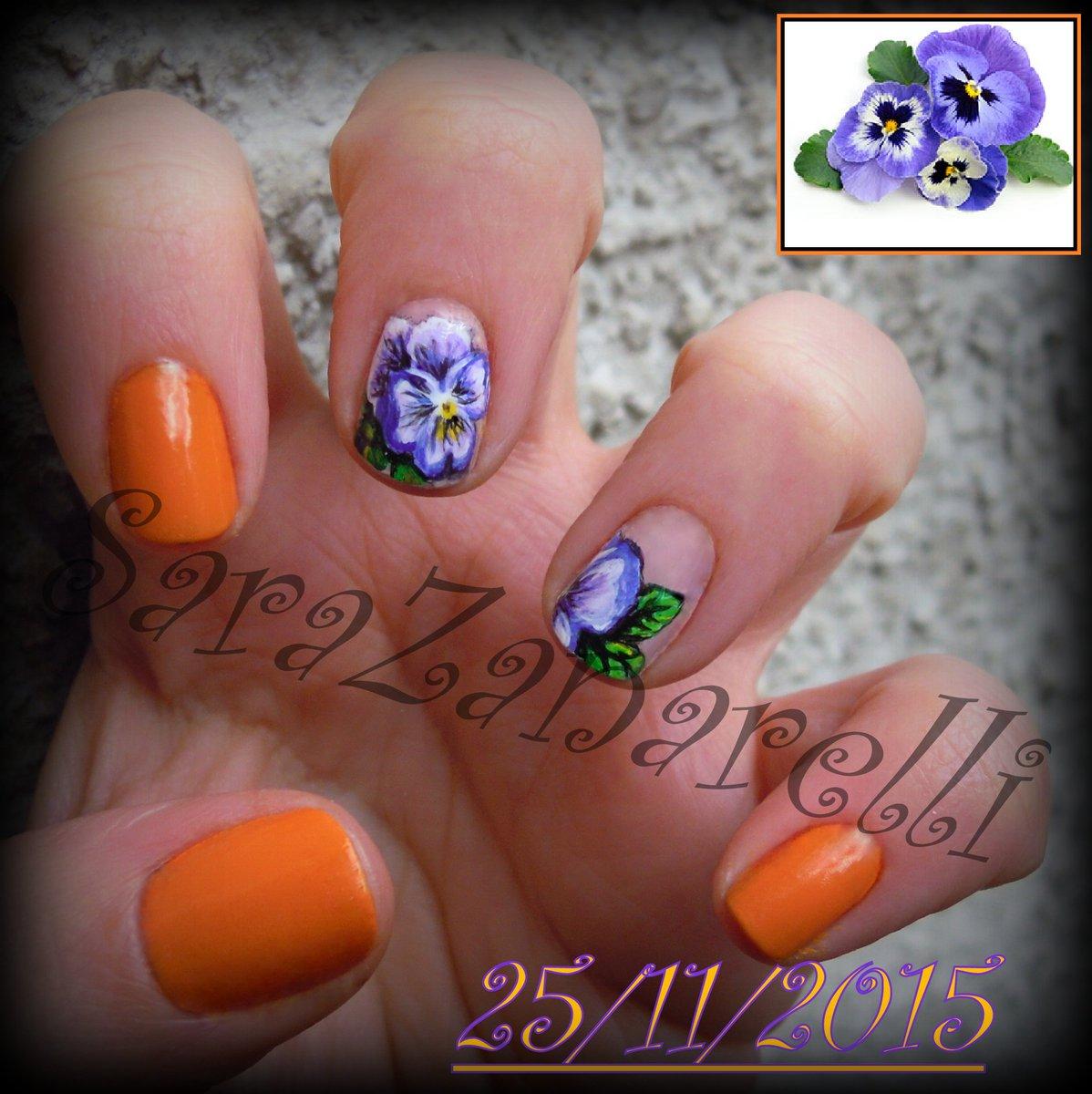 Nails Unghie Nail Nailart Naiesign Micropittura Flower Violette Fiori Arancione Sarazanarellinails Pic Twitter 8fhpcsn6rt