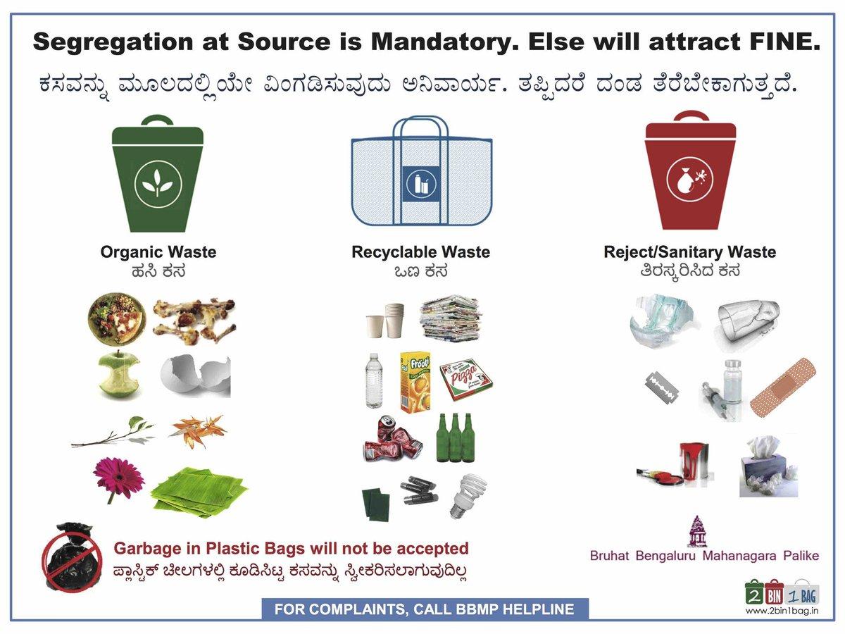 2bin1bag On Twitter Waste Segregation Poster For Bbmp