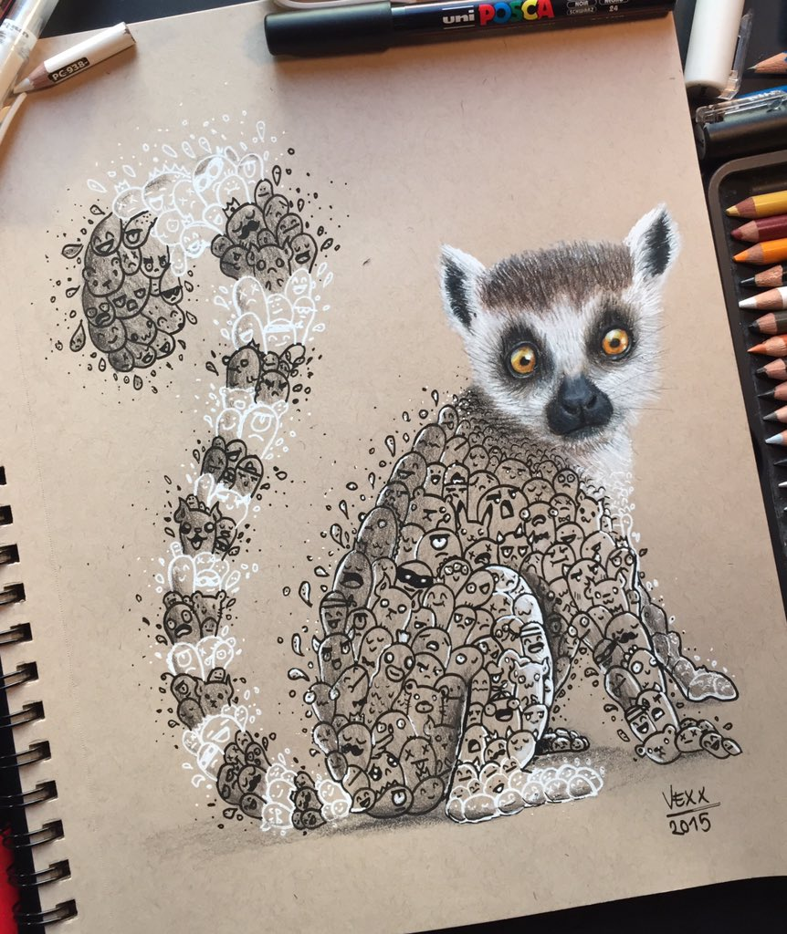 Vexx On Twitter Lemurrrr Lemur Doodleart Art Vexx