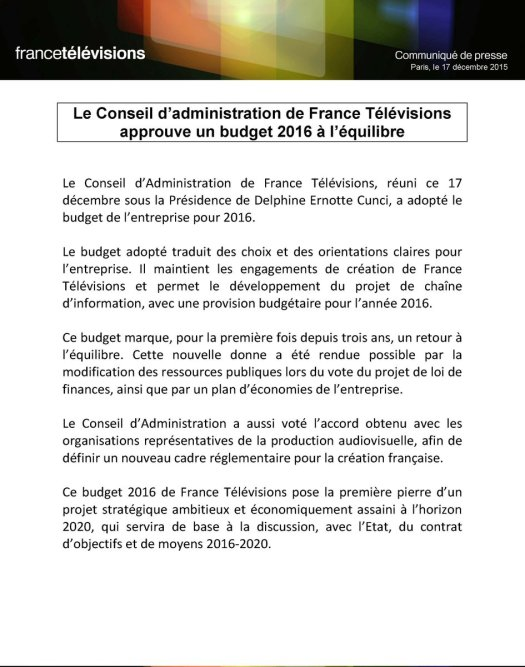 France Télévision budget par tweeter