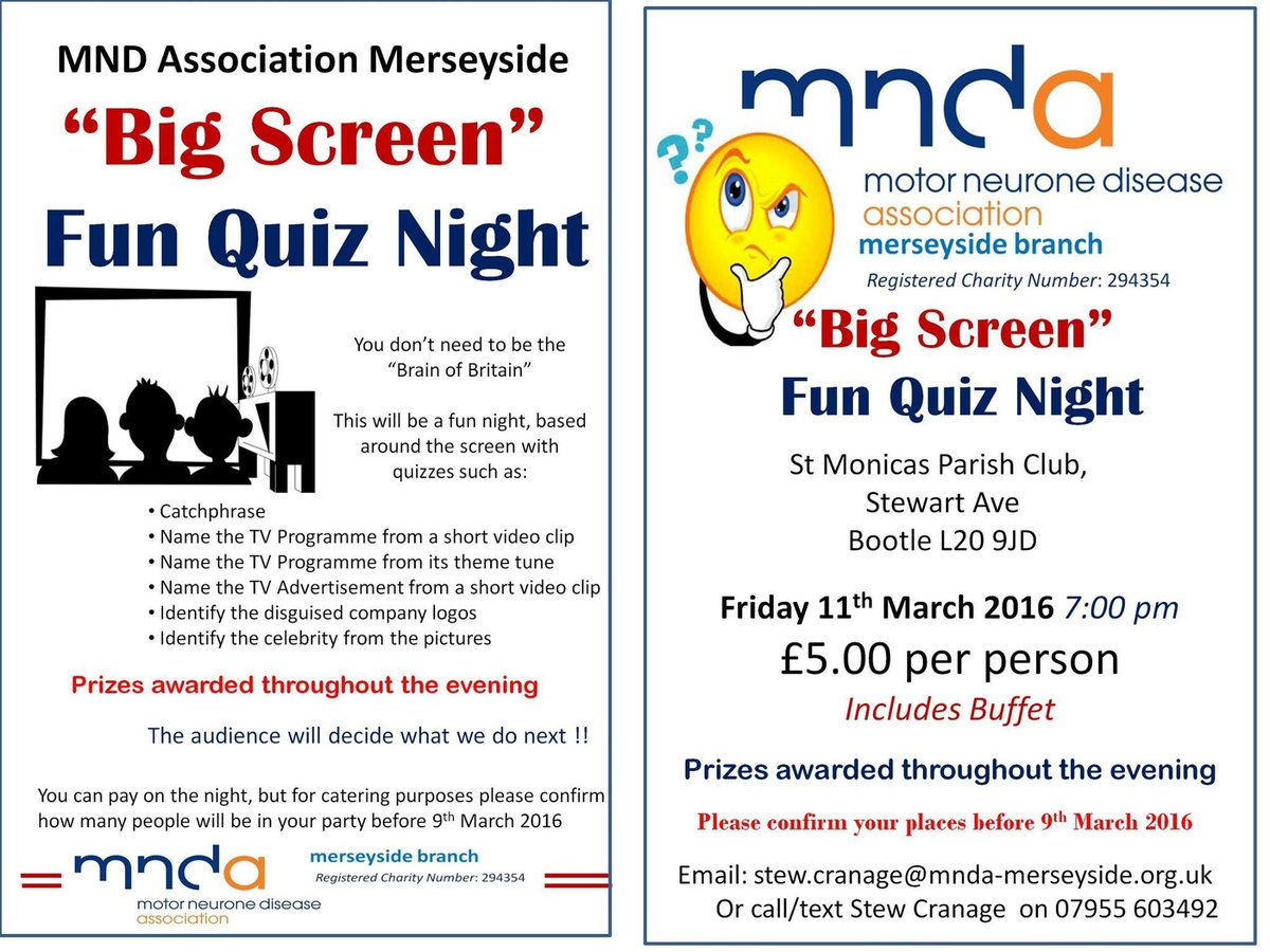 Past Event Mnd Association Merseyside Big Screen Fun Quiz Night Bootle