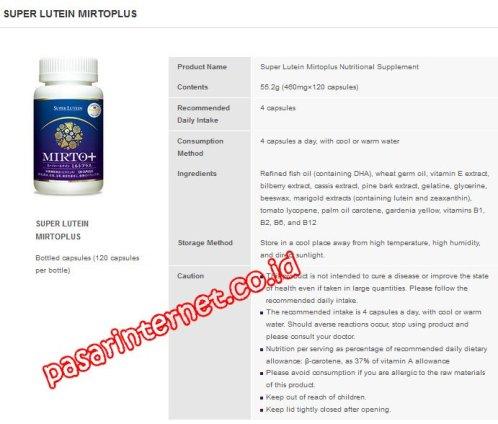 Komposisi Kandungan Super Lutein Mirtoplus / btl
