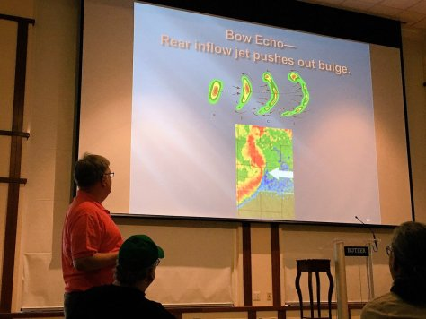 Kwiatkowski presents on quasi-linear convective systems. Photo from Twitter by John Dissauer (@johndissauer).