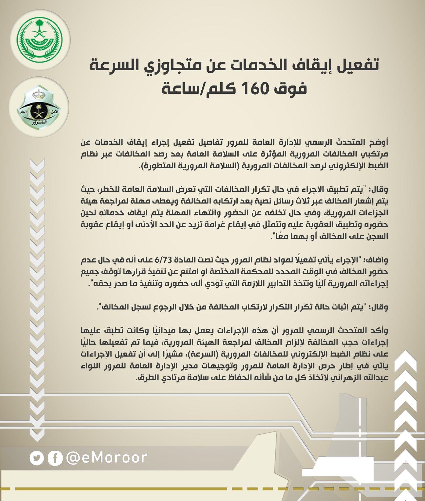 المرور السعودي Na Twitteru تفعيل إيقاف الخدمات عن متجاوزي السرعة فوق 160 كلم ساعة المرور السعودي Https T Co O25ctsj5uq