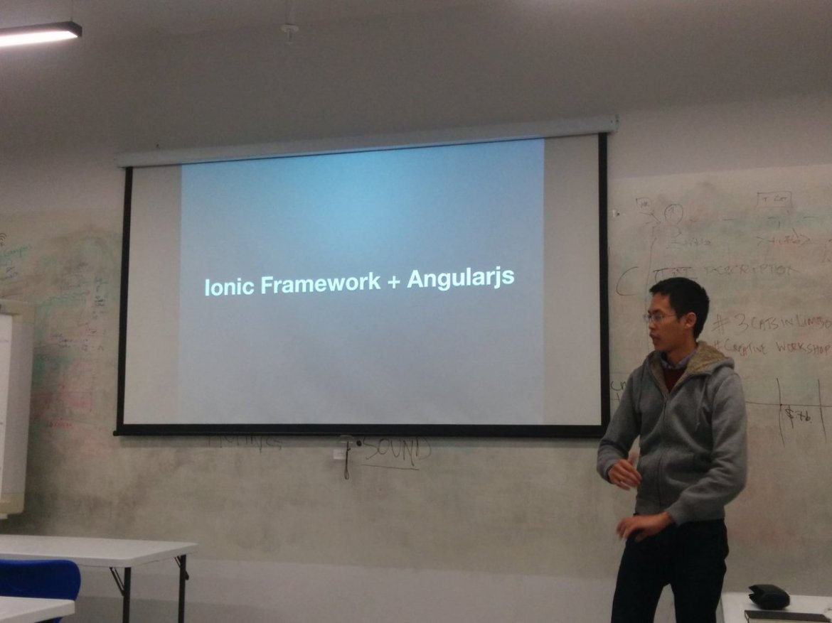 @tiang talking about Ionic Framework + AngularJS at Learn To Code meetup