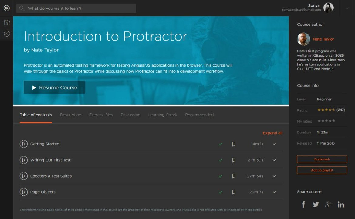 Introduction to #Protractor | COMPLETED @taylonr @pluralsight  #AngularJS