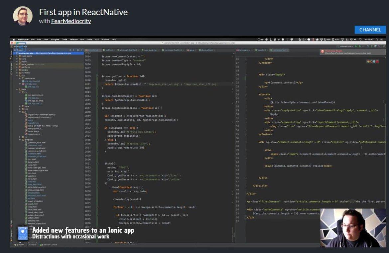 @addyosmani @reactjs @angularjs @emberjs  React native application tutorial.
