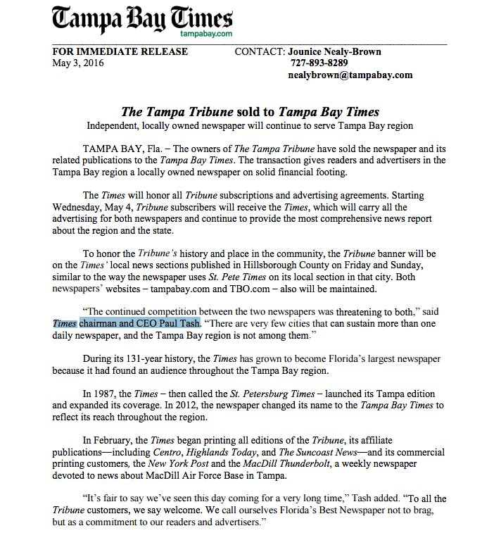 The owners of The Tampa Tribune have sold the newspaper to the #Tampa Bay Times. Details: