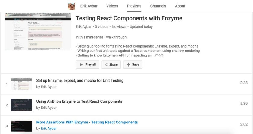 I made some short videos about testing #ReactJS Components using @AirbnbEng's Enzyme 👌