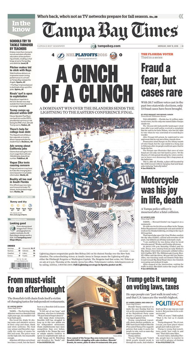 ⚡ Today's 1A | @TBLightning advances to East final with Game 5 shutout of #Isles »