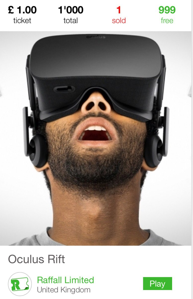 Win an Oculus Rift download Raffall  from the @appstore for #ios #uk raffle tickets £1