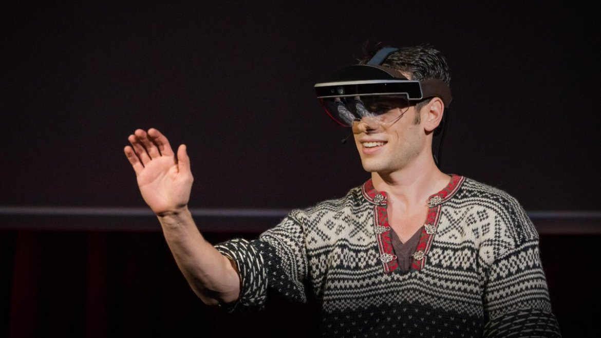 A glimpse of the future through an augmented reality headset:  @merongribetz @metaglasses