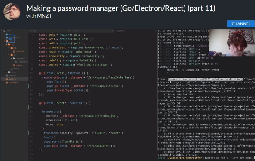 @ReactJS_News check out password manager development with #Go/#Electron/#React