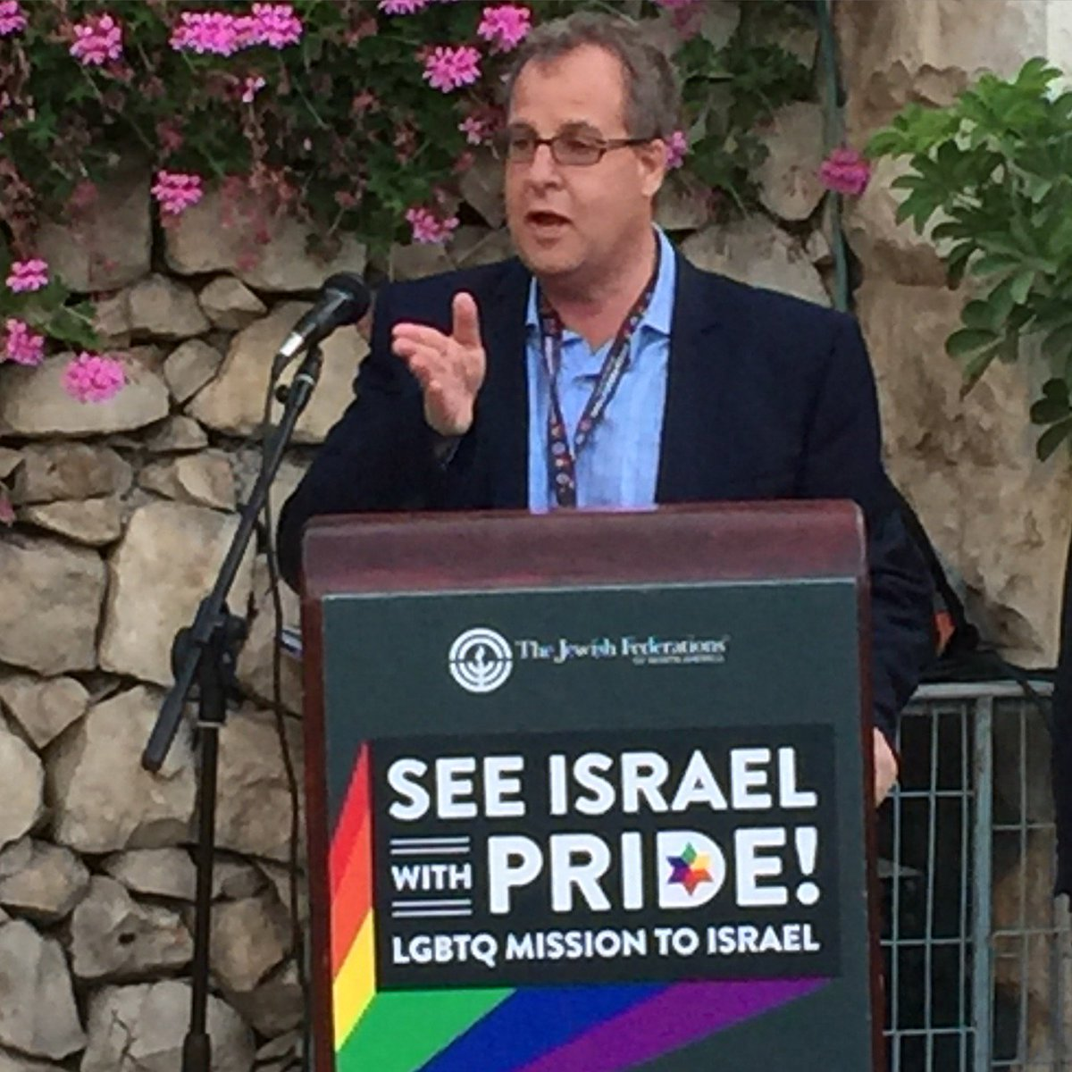 Stuart Kurlander welcomes attendees to opening night of #JFNApride LGBTQ Mission to Israel