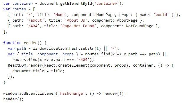 #ReactJS routing example  #reactstarterkit /cc @ReactStarter