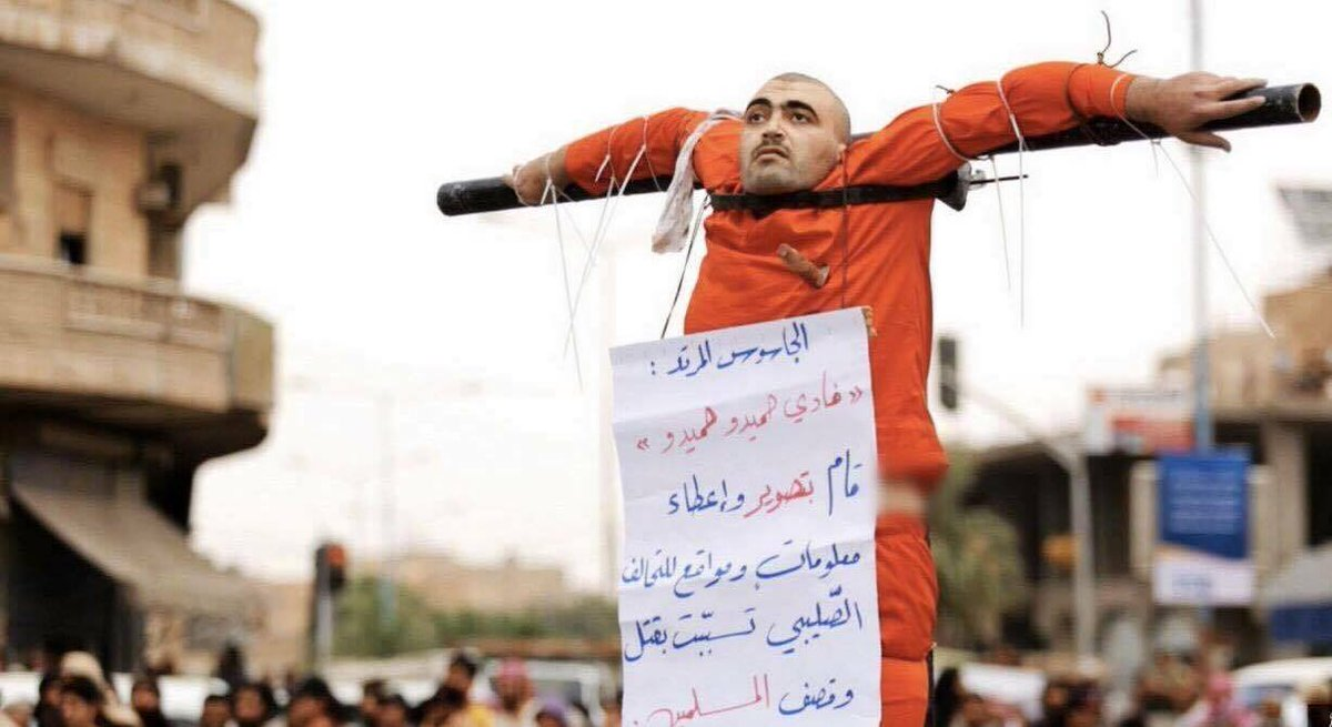 #ISIS killed Fadi Hamido in #Raqqa by stabbing in heart and crucify him on charge of Spy #Syria #ISIL