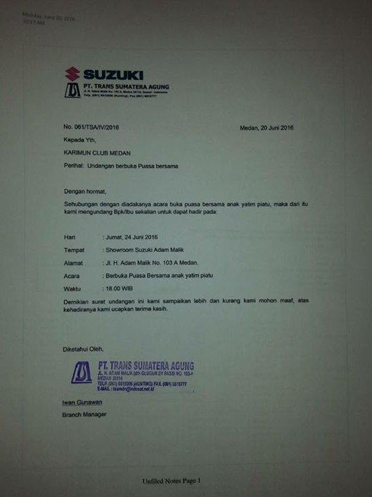 Karimun Club Medan Auf Twitter Undangan Tsa Suzuki Adam Malik Kpd