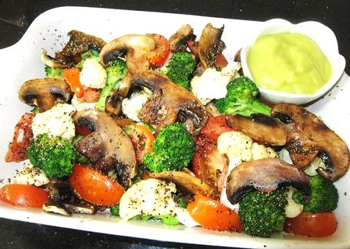 For Friends, healthy meal for You Baked Mushroom & Veggies With Avocado Sauce