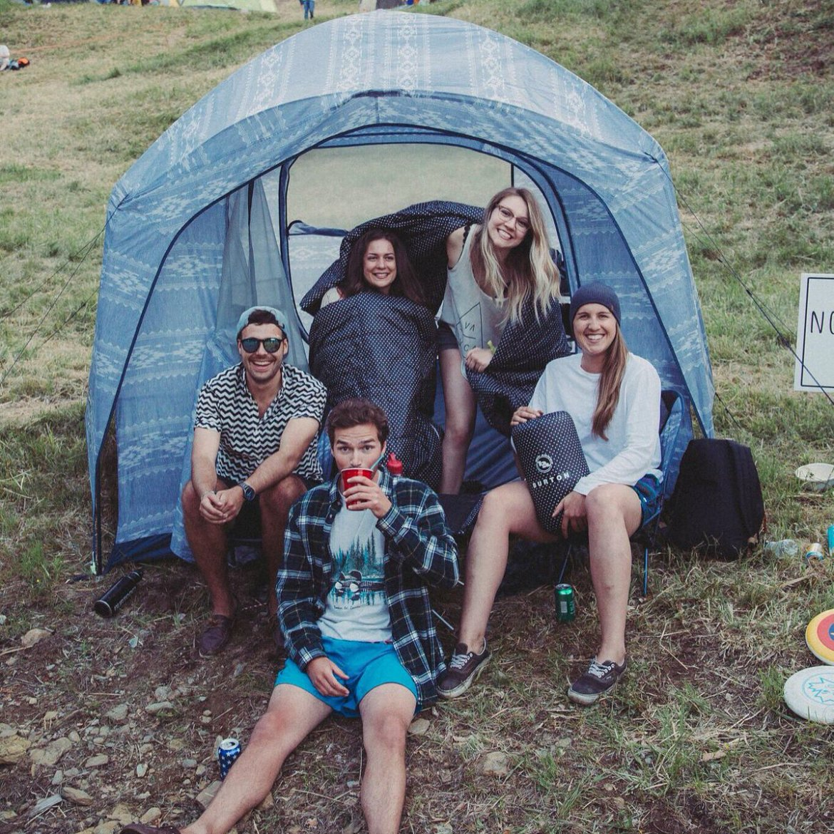 We teamed up with @Leafly to give away a camp setup at the @frendlyg. Congrats to this crew: