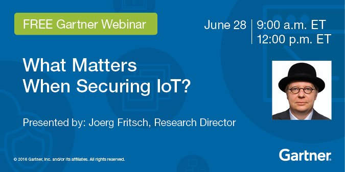 Webinar, 9 am & noon EST: What Matters When Securing #IoT?  #cybersecurity