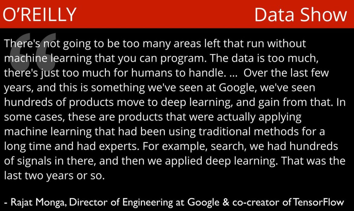 #deeplearning in production @Google → a conversation w/ @TensorFlo co-creator @rajatmonga