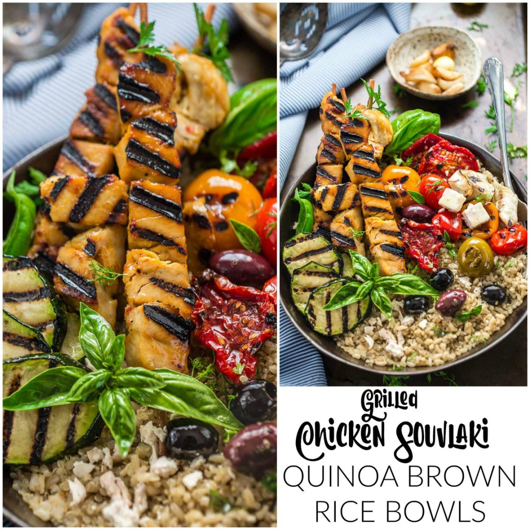 Grilled Greek Chicken Souvlaki Quinoa Brown Rice Bowls @HodgsonMill
