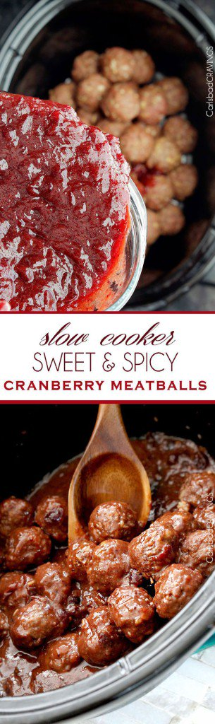 Slow cooker sweet and spicy cranberry meatballs -Turkey