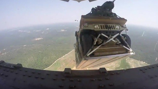 U.S. Air Force drops Humvees from 5,000 feet as part of a training exercise.