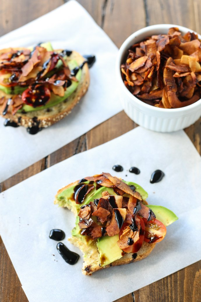 Make this for breakfast/brunch - avocado toast with coconut bacon!