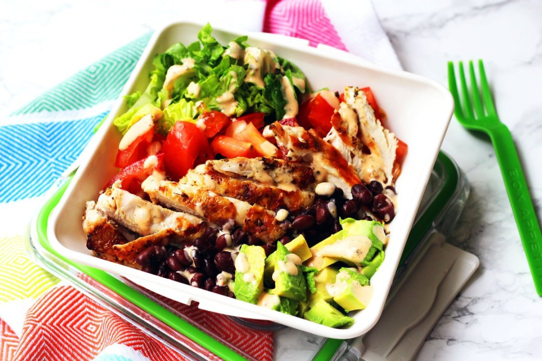 Latest ! Chicken, Black bean & Avocado Salad with Smokey Ranch Dressing.