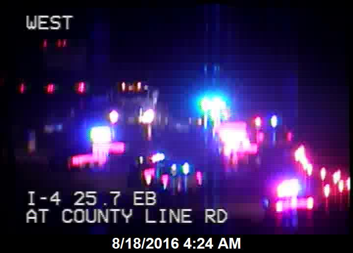 Hit & Run crash with injuries on I-4 EB at County Line Rd. 1 lane open. Watch traffic cams: