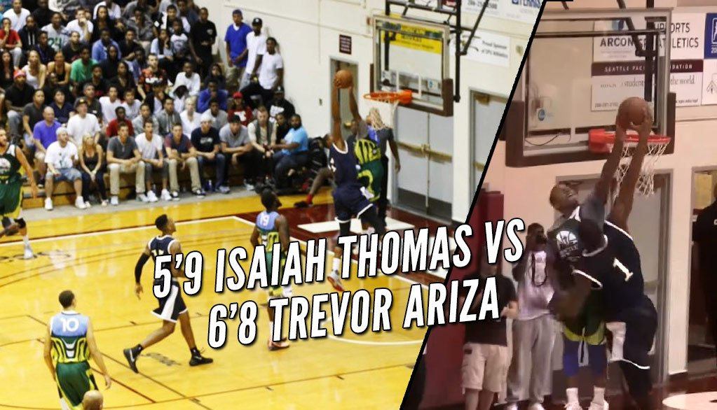 1yr ago today, 5'9 @Isaiah_Thomas rejecting a dunk attempt by 6'8 Trevor Ariza | VIDEO: