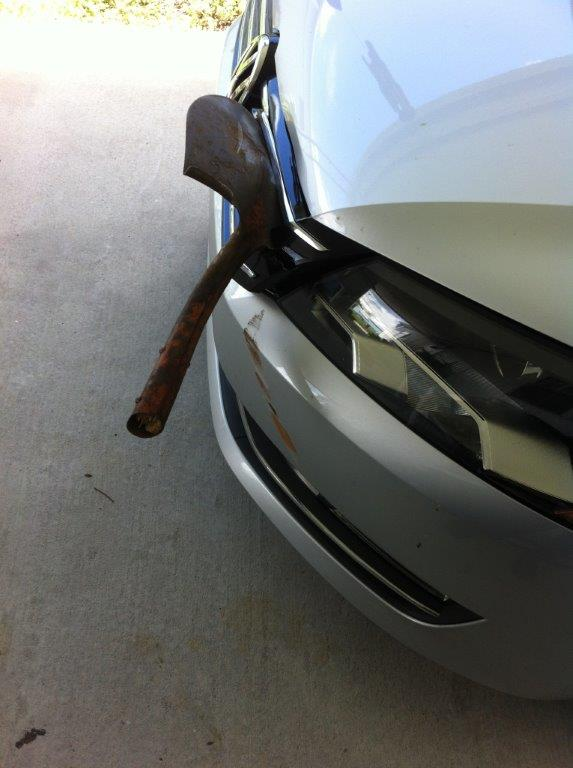 Loose shovel flies through air, wedges into New Port Richey woman's vehicle