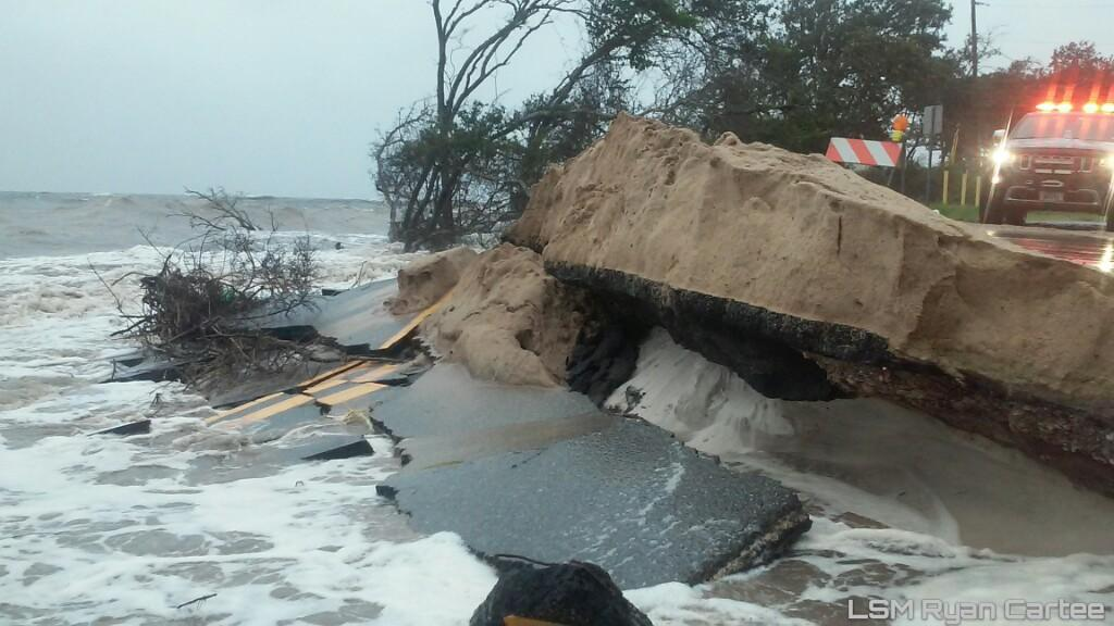 Storm Surge From Hurricane Hermine Causes Road Damage In