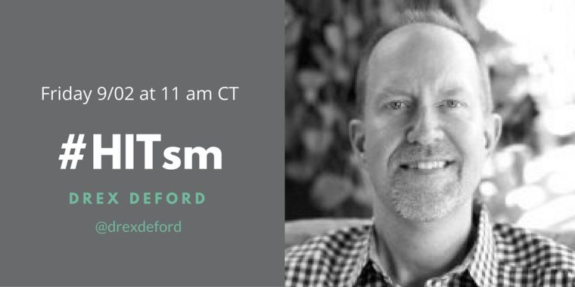 TODAY! A great #HITsm discussion on #ArtificialIntelligence + healthcare w/host @drexdeford